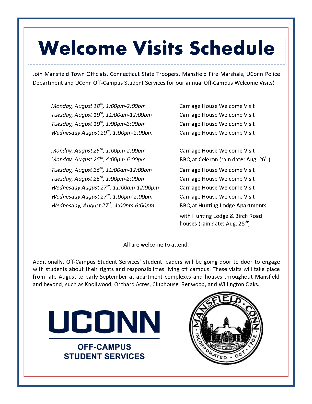 MCCP 2014 Welcome Visit Schedule | Mansfield Community ...
